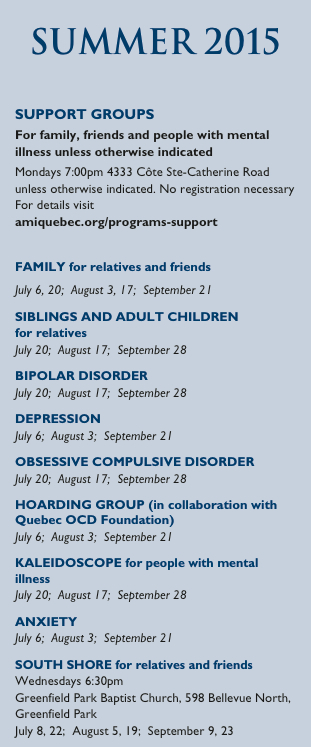 Summer 2015 Support Groups